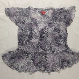 Sheer Purple blouse with grey shell